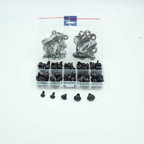 100-Stk-Sicherheits-Nasen-5-Sizes-in-Box-schwarz-AMIGURUMI-Teddy-Puppe-Tier-0