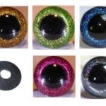 5 Paar Sicherheitsaugen glitzer 12 mm verschiedene Farben im Set, Teddyaugen glitzer