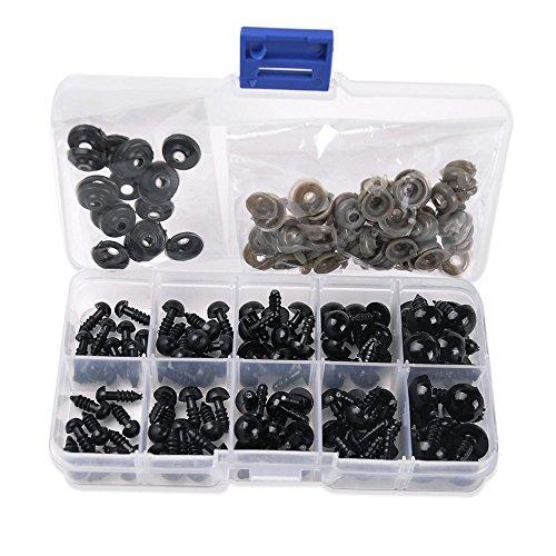 Bermud-100-sets-Teddyaugen-Sicherheitsaugen-Kunststoffaugen-Puppenaugen-6mm-8mm-9mm-10mm-12mm-jede-Gre-20pcs-Schwarz-0