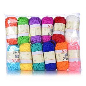 LIHAO-12x15g-Strickwolle-Handstrickgarn-Hkelgarn-Acryl-fr-Doppelt-Stricken-Hkeln-und-Kunsthandwerk-12-Farben-0