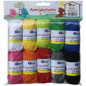 Sortiment-Amigurumi-Wolle-10-Knuel-a-10g-100-Baumwolle-Garn-Strickwolle-Hkelgarn-2870-01-0