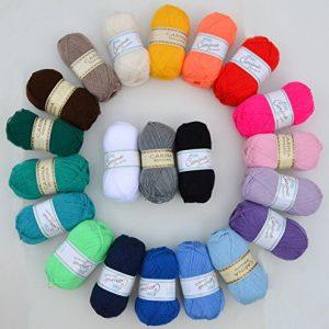 Wollpaket-bunt-20x50g-Rellana-Carina-Glanzperle-gemischte-Farben-jeweils-1x-50g-Knuel-pro-Farbe-Wolle-Paket-zum-Hkeln-Stricken-Basteln-Hkelwolle-Strickwolle-Bastelwolle-0